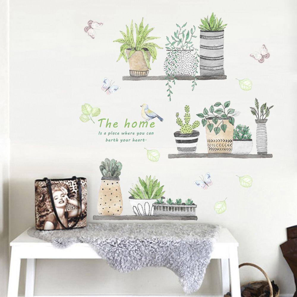 Plante Stickers muraux jardin bonsaï oiseau papillon autocollant Mural amovible bricolage Art décalcomanie murale salon enfants chambre ornements