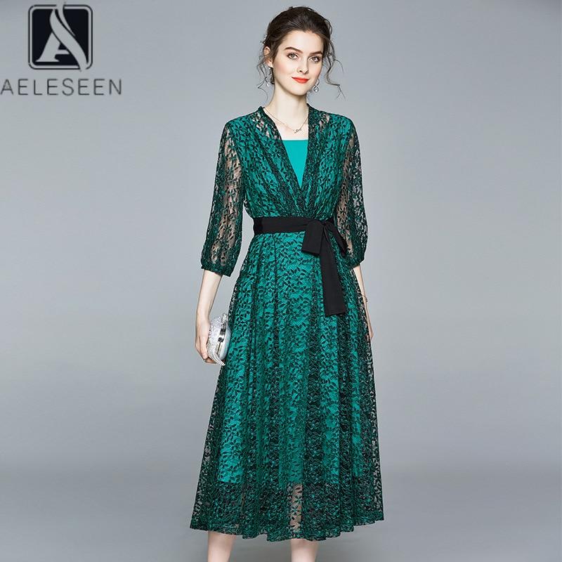 AELESEEN Runway Fashion Lace Dress 2020 Spring Summer Half Lantern Sleeve v-neck Belt Flower Embroidery Elegant Green Dress
