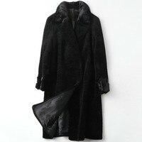 Autumn Winter Wool Coat Women Clothes 2020 Korean Vintage Mink Fur Collar Wool Jacket Real Fur Coat Abrigo Mujer TP19031105C