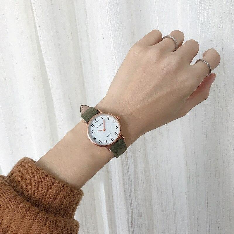 Ulzzang Brand Simple Women Watches Vintage Green Leather Band Quartz Wrist Watch Fashion Ladies Dress Watches Zegarek Damski INS