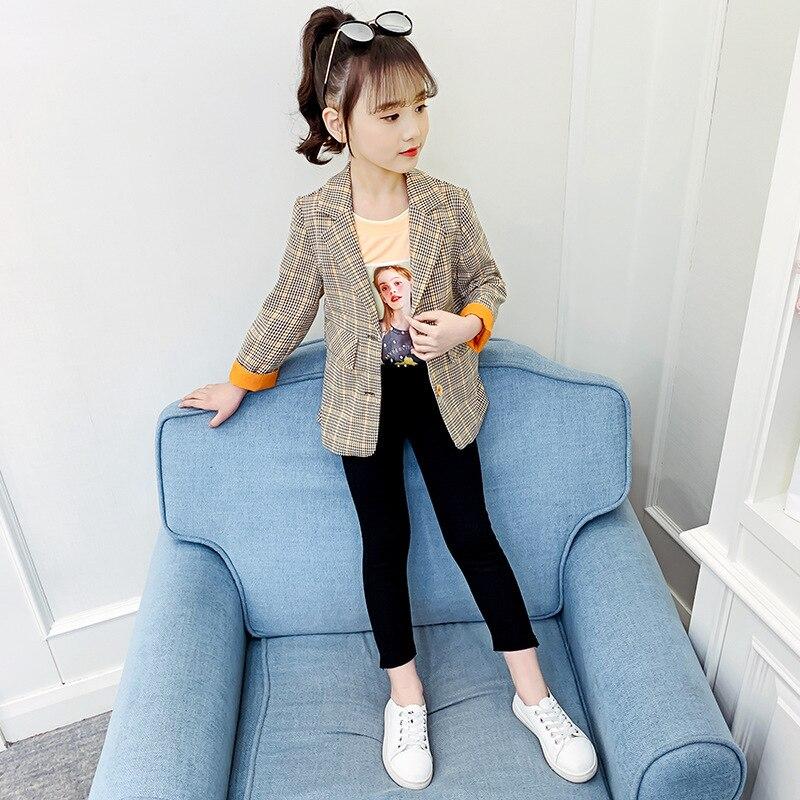 Children's Blazer For Teenage Girl Long Sleeve Cardigan Plaid Blazers Student School Uniform Outerwear Girls Casual Coat Costume 4