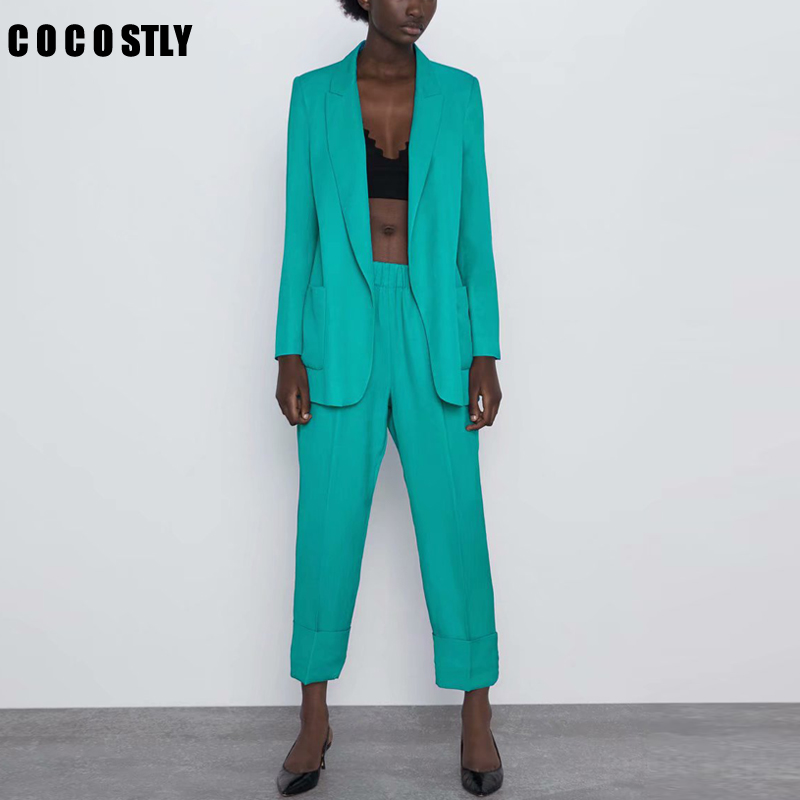 Autumn Work Pant Suits OL 2 Piece Sets Office Lady Long Blazer Jacket Tops & Elastic Waist Trousers Suit For Women Set Feminino