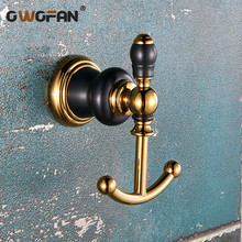 Home decoration New Design luxury  Golden Color Brass Decorative Wall hooks Clothes hanger double Hooks Towel Robe hook XL-66801