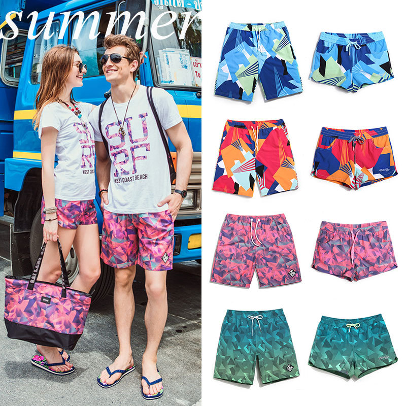 MEN'S Beach Pants Women's Beach Pants Short Large Size Quick-Dry Seaside Holiday Couple Clothes Swimming Trunks Hot Springs Boxe