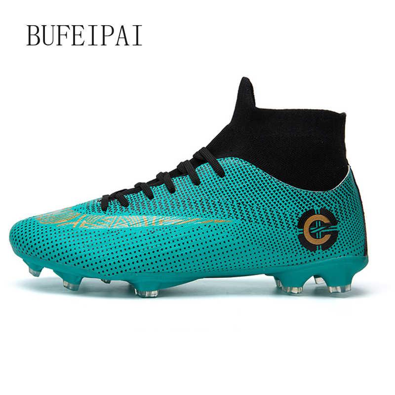 BUFEIPAI חיצוני גברים בני כדורגל נעלי כדורגל מגפיים גבוה קרסול ילדים סוליות אימון ספורט סניקרס גודל 35-44 Dropshipping