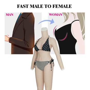 Silicone Breast Forms Shemal Whole Body Suits with Arms C Cup Fake Boobs Body Suits for Crossdresser Transgender Latex Shapewear