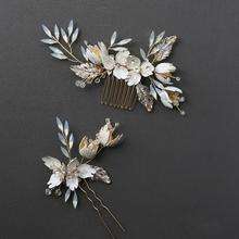 Peine de cristal de ópalo Pin de oro Vintage horquilla flor hoja tocado novia boda joyería nupcial accesorios m200