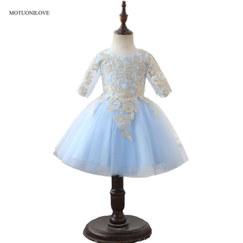 100% Real Pictures Flower Girl Dresses with 3/4 Long Sleeves Light Sky Blue Short Prom Party Dress For Little Girl Birthday Gown baby blue knee length open back long sleeves organza flower girl dresses with bow baby birthday party gown with pearls crystals