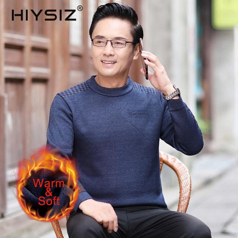 HIYSIZ Brand 2019 Autumn Winter Streetwear Knit Sweater Men Trend Casual Men Sweater Stripe Clothes O-Neck Pull Homme H3028