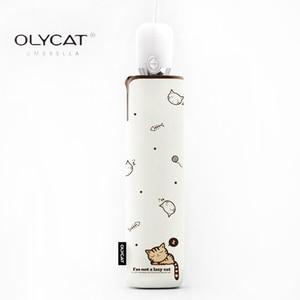 Image 2 - OLYCAT Paraguas automático de la lluvia de las mujeres gato plegable paraguas a prueba de viento negro revestimiento Anti UV sombrilla mujeres paraguas de chica