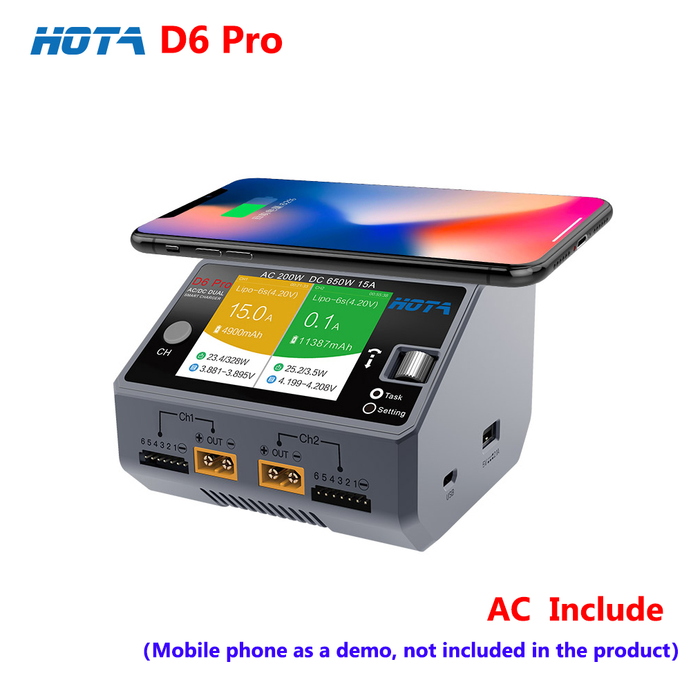 HOTA D6 Pro AC200W DC650W 15A 2-6S Dual Channel Smart Charger For Lipo Lion Battery With IPhone Samsung Wireless Charging
