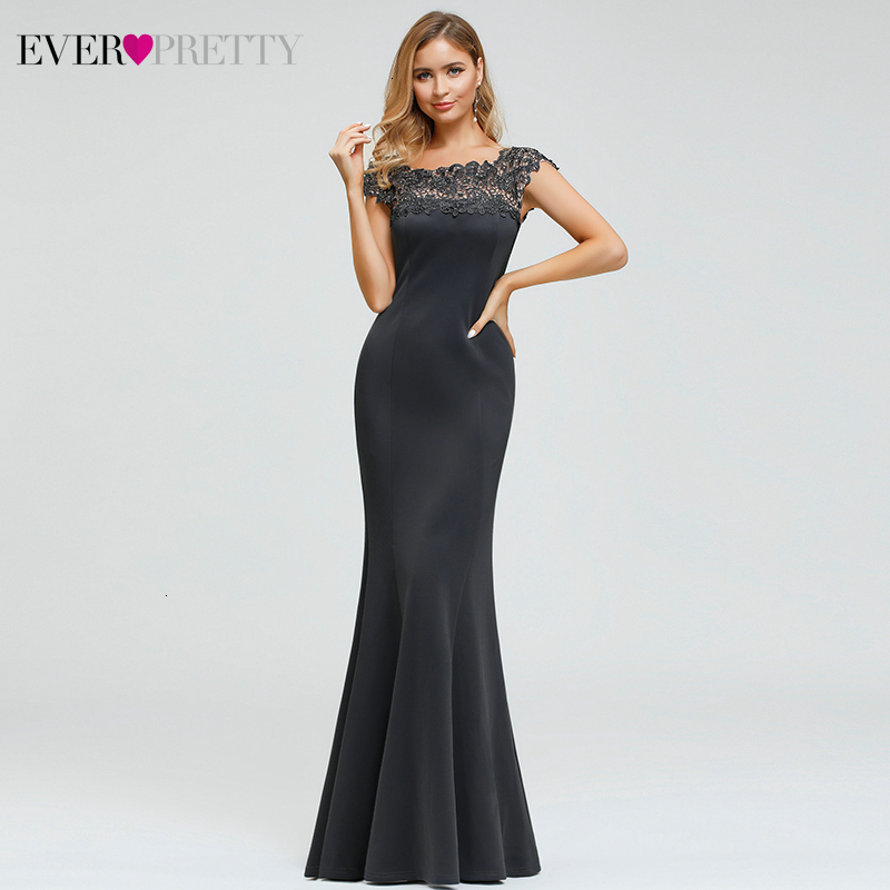 Sexy Mermaid Evening Dresses Long Ever Pretty Appliques Beaded O-Neck Sleeveless Dark Grey Formal Dresses Robe De Soiree 2020