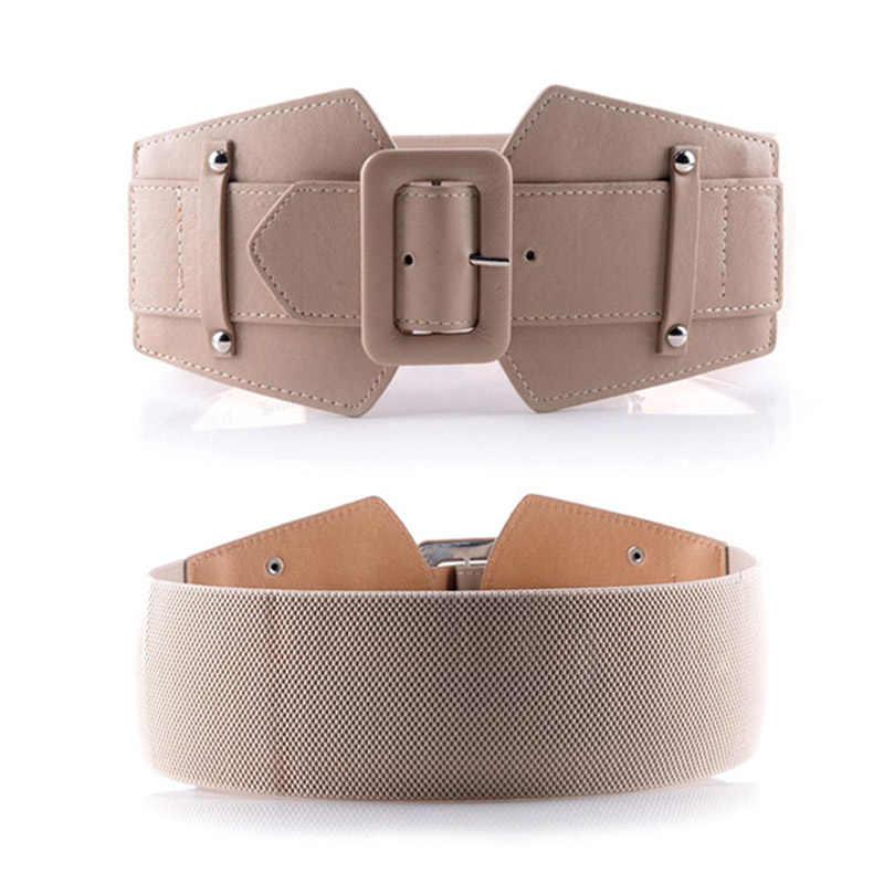 الإبداعية خمر حزام السيدات جلدية pu مرونة الصلبة الرسمي عارضة مرونة واسعة حزام المرأة حزام مطاط جاكيتات T قميص اللباس