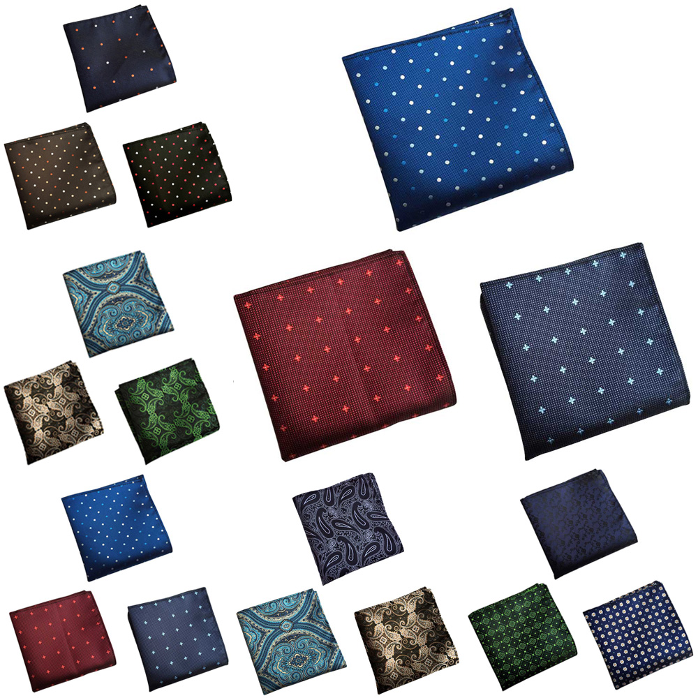 3 Packs Mens Polka Dots Paisley Floral Pocket Square Handkerchief Wedding Hanky HZTIE0362
