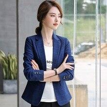 Women Blazers Autumn New Women's Clothing Plaid Thousand Birds Especially Suit Professional Suit Woman