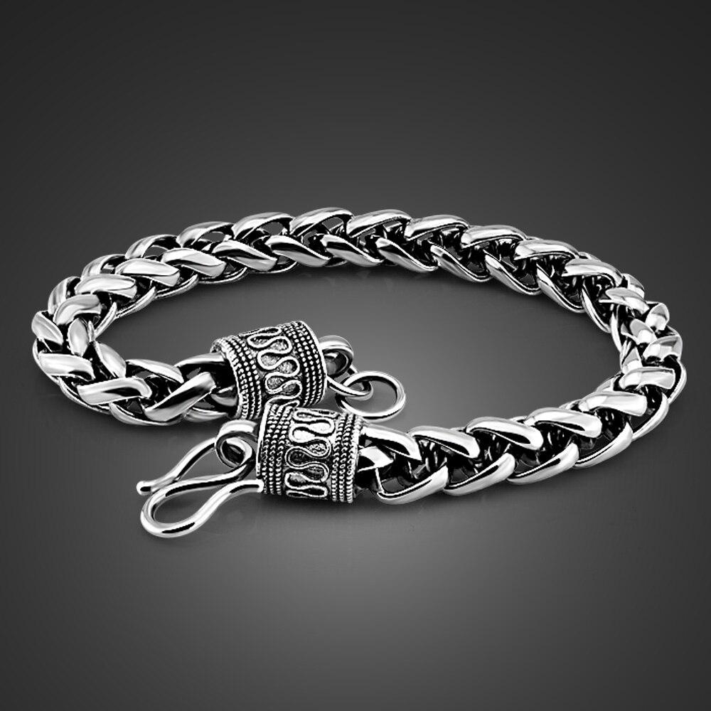 Мужской серебряный Ретро-браслет Shitai, корейские мужские модели, серебро 100% пробы 925 пробы, грубый 7 мм 20 см, тайский серебряный браслет