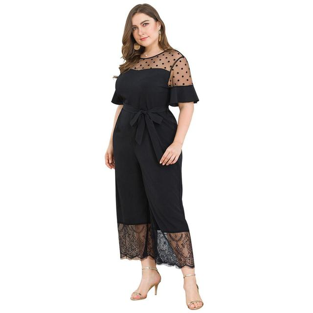 2019 Fashion Casual Solid Jumpsuit Women's Plus Size Short-Sleeved Mesh Stitching Lace Wide Leg One-piece Pants Mameluco Mujer Y 4