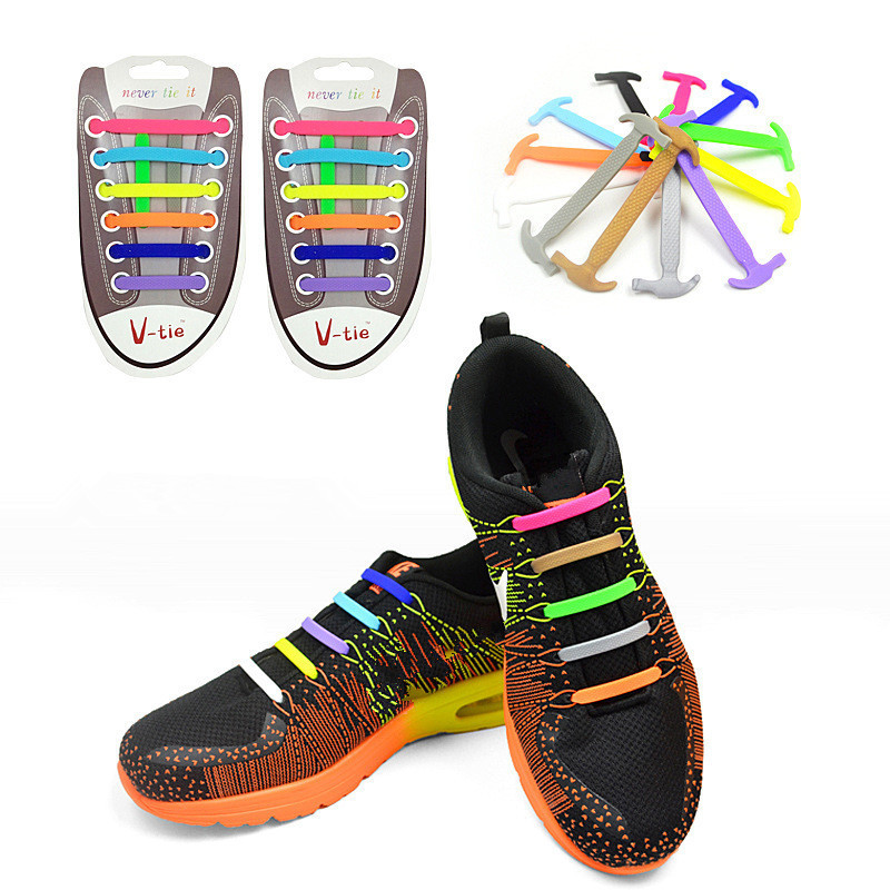Elastic No Tie Shoelaces Sports Trainer Running Athletic Sneaks Shoe laces LU