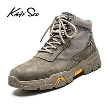 KATESEN sonbahar kış peluş sıcak hakiki deri erkek botları tüm sezon iş ayakkabısı adam bileğe kadar bot kürk siyah açık botlar
