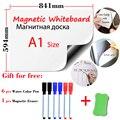 A1 tamanho 594x841mm magnético quadro branco geladeira ímãs placas de apresentação casa cozinha placas de mensagem escrita adesivo 6pen1eraser