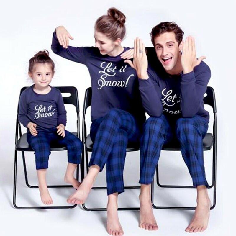 Azul marinho carta família correspondência natal pijamas das mulheres dos homens crianças natal manga longa agasalho fotografia pijamas