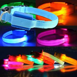 LED Dog Collar Safety Pet Collar With 3 Glowing Modes 3 Reflective Strings Adjustable Collar for Small Medium Large Dogs