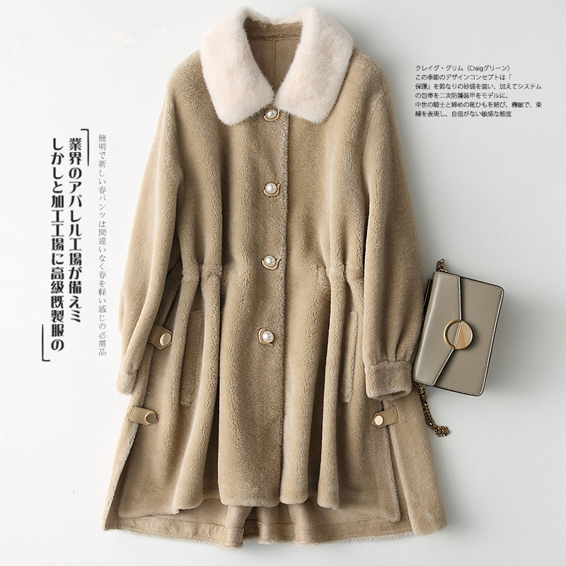 Shearling Sheep Real Fur Coat Female Mink Fur Collar Wool Coats Winter Jacket Women Korean Long Jackets Manteau Femme MY S S
