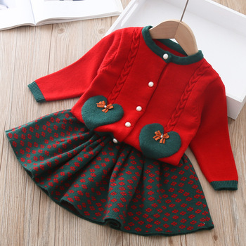 Toddler Girl Clothes Christmas Little Children Outfits Fall Baby Girls Clothing Sset Knit Sweater Cardigan&flower Skirt Cute
