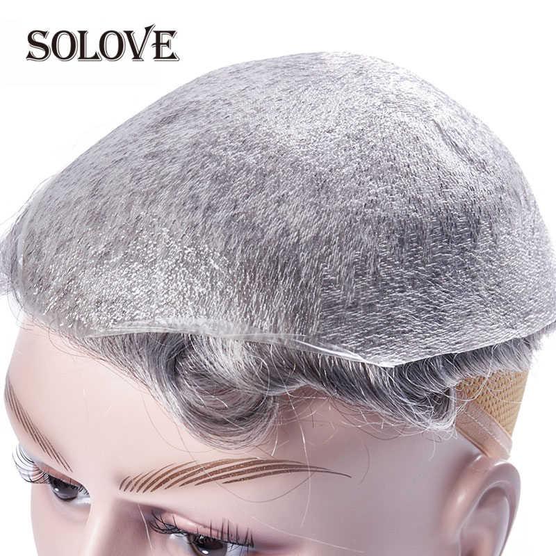 Piel fina 0,02-0,03mm para hombres tupé peluca artesanal pura 8x10 pulgadas Remy indio sistemas de repuesto de cabello humano