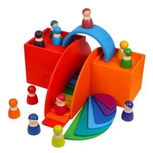 Image 3 - ของเล่นเด็กขนาดใหญ่Rainbow Stackerไม้ของเล่นสำหรับเด็กCreative Rainbow Building Blocks Montessoriของเล่นเพื่อการศึกษาเด็ก