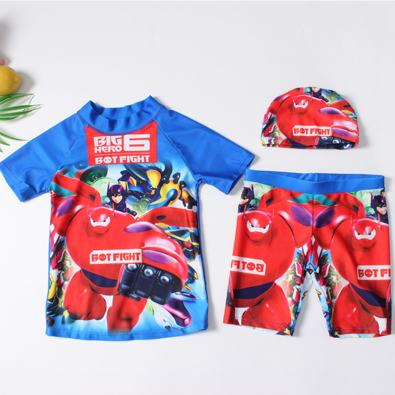 19 Europe And America New Style Split Type BOY'S Swimsuit Send Swimming Cap Short Sleeve Shorts Cartoon Ultra-stretch Quick-Dry