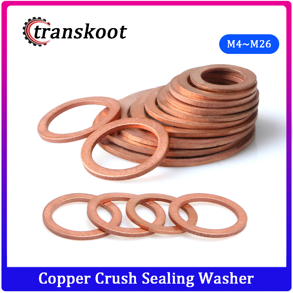 DIN7603 M4 M5 M6 <font><b>M8</b></font> M10 M12 M13 M14 M16 M17 M18 M20 M22 M24 M26 Boat Red Brass Copper Crush Sealing <font><b>Washer</b></font> Flat Seal Gasket Ring image