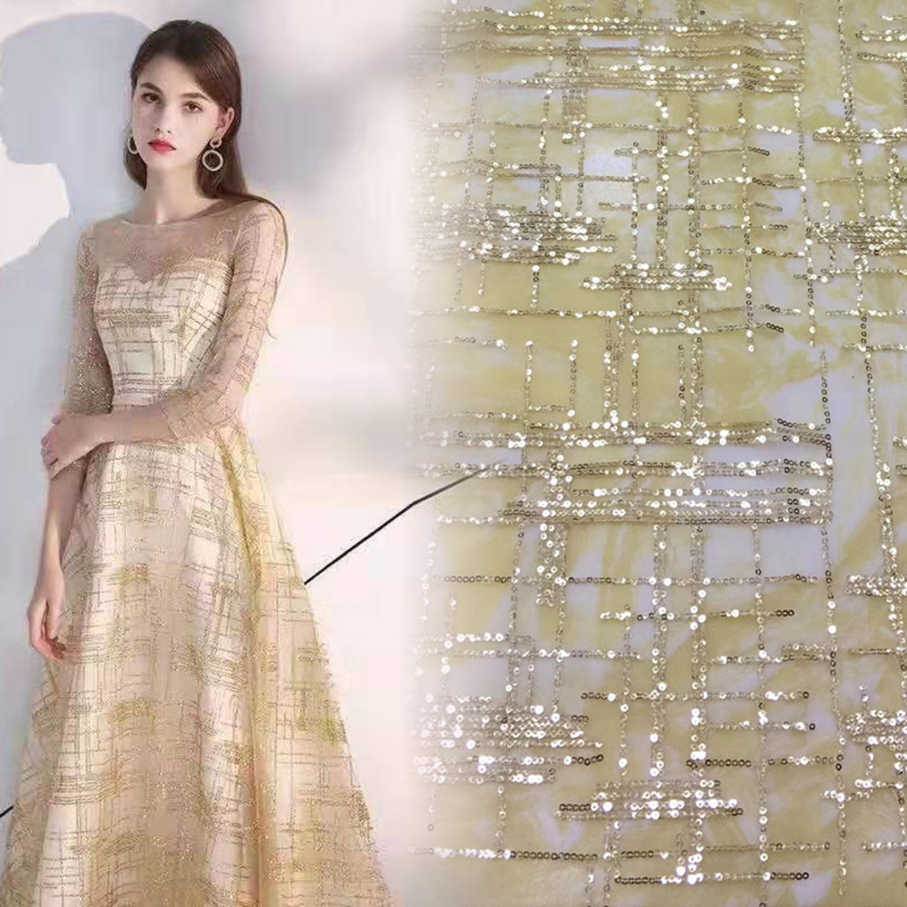 Gold Silver Sequins Bronzing Mesh Lace Fabric DIY Sew Clothes Wedding Evening Dress Curtain Accessories Background Cloth