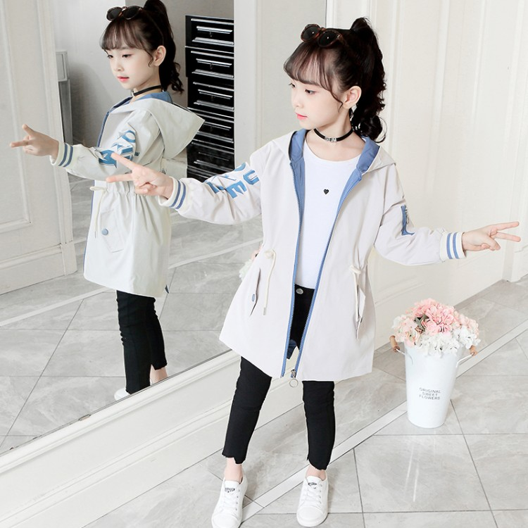 Kids Windbreaker for Baby Girls Outerwear Hooded Letters Tops Spring Autumn Solid Kids Clothes Age 4 16Y Children Trench Coats in Trench from Mother Kids