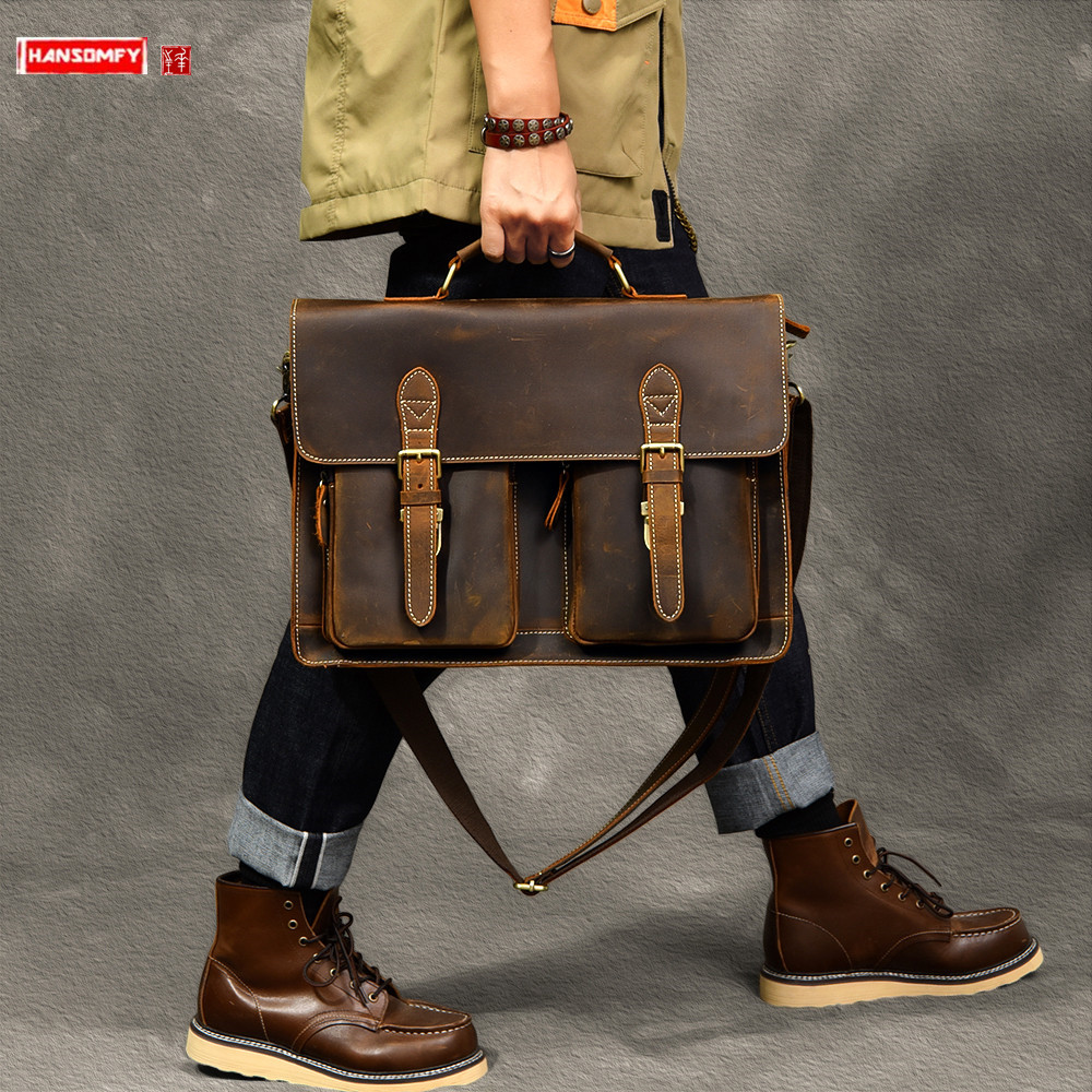Genuine Leather Men's Handbag Crazy Horse Leather Men Laptop Briefcase Male Shoulder Messenger Bag Large Capacity Travel Bags