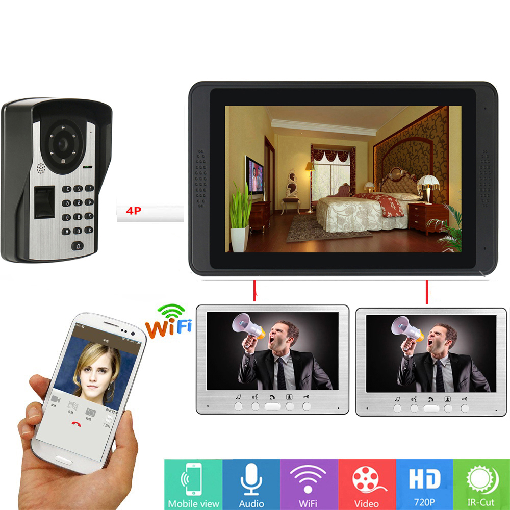 Fingerprint Password APP Remote Unlock Video Intercom 7 Inch Monitor Wifi Wireless Video Door Phone Doorbell Visual Intercom KIT