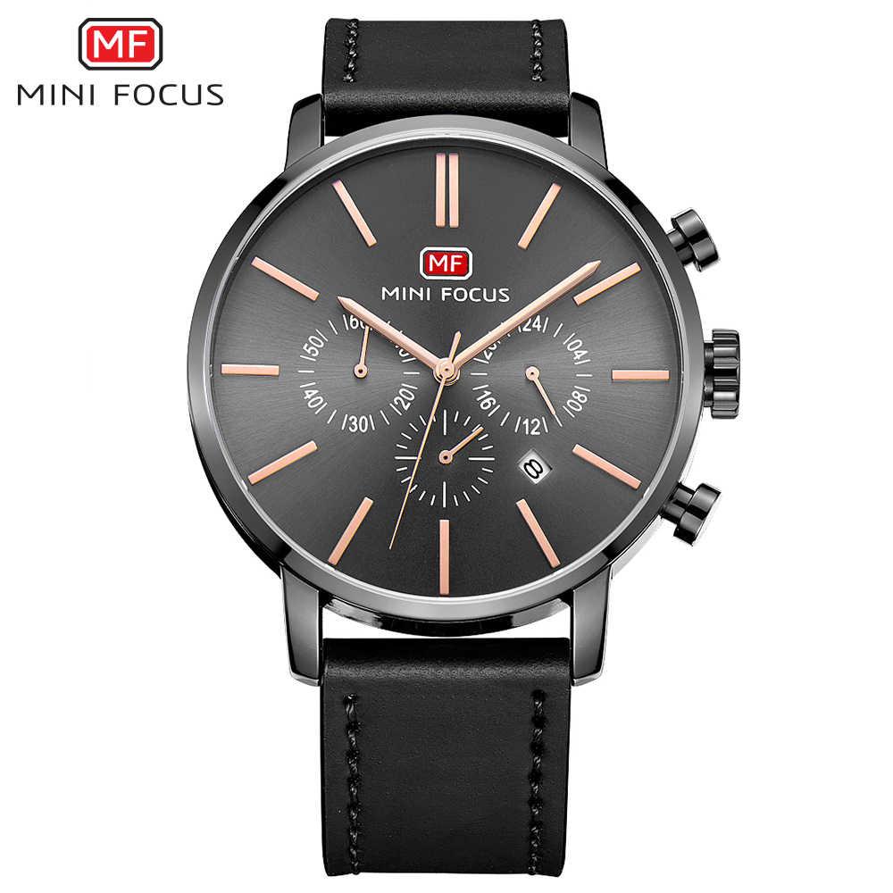 MINI FOCUS hommes mode étanche sport montre de luxe marque Quartz calendrier montres en cuir mâle horloge chronographe