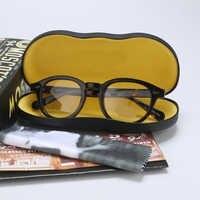 Optical Eyeglasses Frame Men With Box&Case Computer Johnny Depp Vintage Glasses Spectacle Frame For Male Transparent Lens YQ080