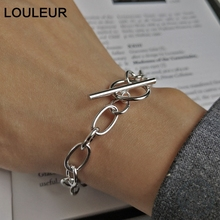 LouLeur 925 sterling silver crude chain buckle bracelets Ingenuity design works elegant for women jewelry gift