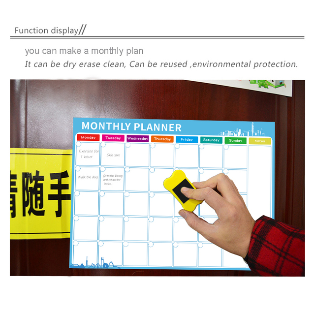 Magnetic Whiteboard Dry Erase Board Magnets Fridge Refrigerator To-Do List Monthly Daily Planner 2019 Organizer for Kitchen 5