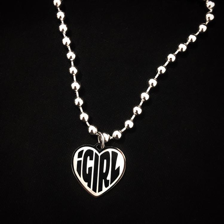 Stainless Steel IGIRL Heart Necklace Heavy Duty Gothic Streetwear Chain Necklace Choker Metal Collar High Polished