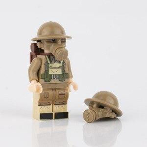 Image 2 - WW2 военные строительные блоки, противогаз, армия, британский солдат, шлемы, медицинские аксессуары, детали, кирпичи WW1, детская игрушка