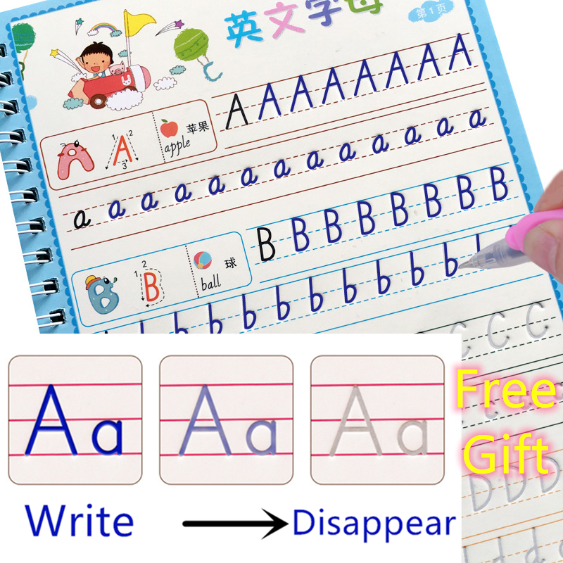 4pcs/Lot Free Gift  Early Learning Number Words Math Magic Hand Writing Paste Children Books Kids Educational English Copybook