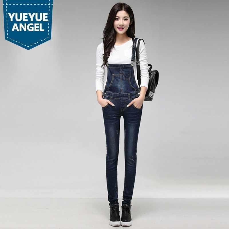 Nữ Cao Cấp Thanh Lịch Có Dây Đeo Có Thể Điều Chỉnh Được Jumpsuit Xanh Dương Xl Rompers Quần Yếm Denim Jeans Nữ Quần Quần Âu