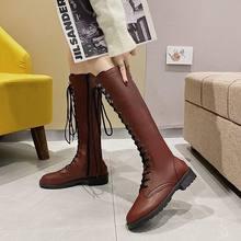 Женские сапоги новые рыцарские с круглым носком и боковой молнией