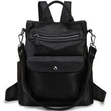 3 Ways Women Anti-thieft Backpack Purse Faux Leather Crossbody Fashion Detachable Shoulder Strap Bag Black