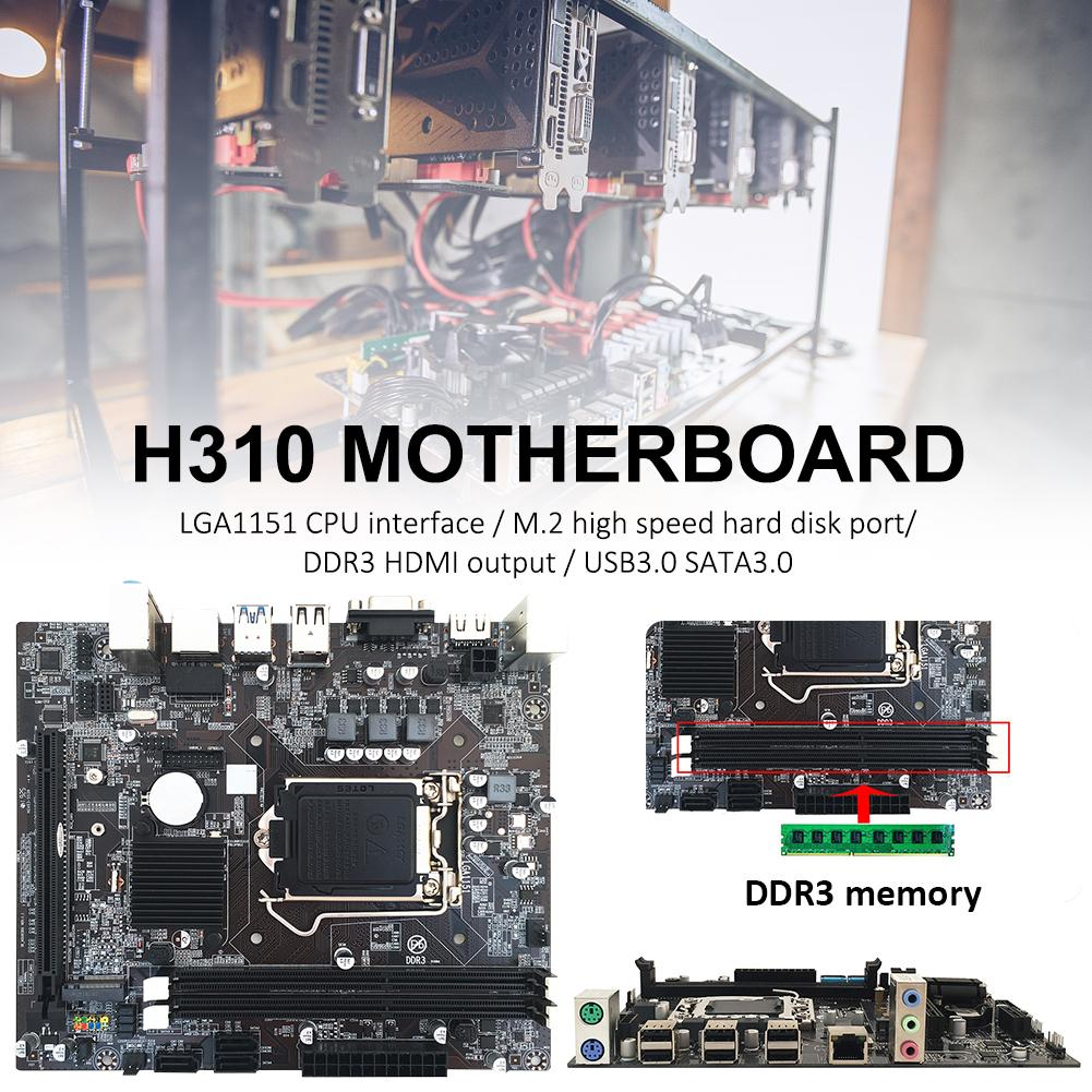 computer motherboard H310 Computer Motherboard with High Speed Hard Disk Ports All Solid Capacitor Motherboard Support 6 7 8 and 9 generations of CPU (1)