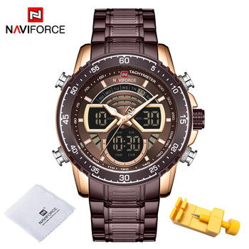 NAVIFORCE Mens Military Sports Waterproof Watches Luxury Analog Quartz Digital Wrist Watch for Men Bright Backlight Gold Watches 16