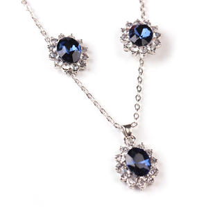 African Jewelry Anniversary Gift Blue Crystal Stone Wedding Jewelry Sets For Brides Silver Color Necklace Set For Women
