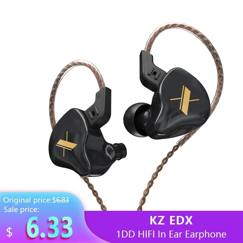 Плотным верхним ворсом KZ EDX 1DD Hi-Fi наушники вкладыши наушники контролировать наушники в ухо наушники для бега спортивные Шум Снижение гарнит...